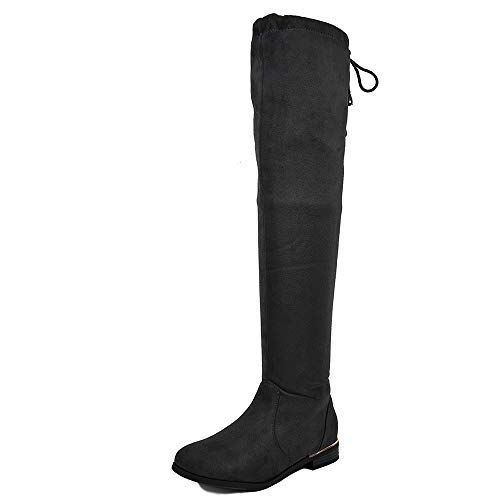 DREAM PAIRS Women's Upland Black Suede Over The Knee Thigh High Winter Boots - 8 M US