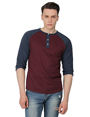 H2H Mens Casual Slim Fit Raglan 3/4 Sleeve Henley T-Shirts WINENAVY US XL/Asia 2XL (CMTTS0174)