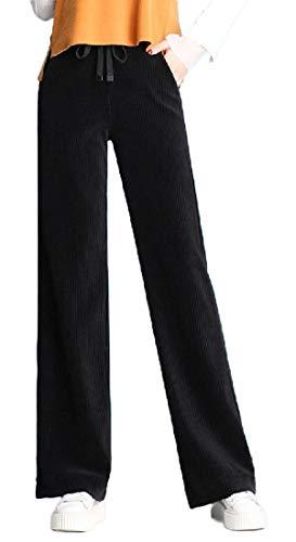 GenericC Women's Leisure Corduroy High Rise Wide Leg Palazzo Pants Pleated Trousers Black S
