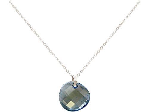 Gemshine TWIST Halskette Aquamarin Blue Anhänger Trachtenkette Trachtenschmuck MADE WITH SWAROVSKI ELEMENTS Dirndlkette aus 925 Silber oder vergoldet, Metall Farbe:Silber