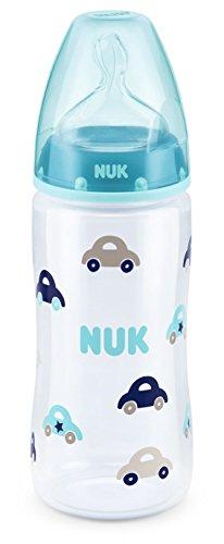 NUK 10216209 First Choice Plus Babyflasche, kiefergerechter Trinksauger, 300 ml, 6-18 Monate, blau
