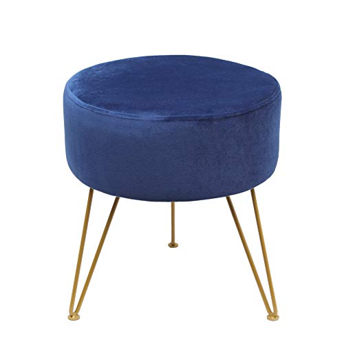 Ottoman Stool-Modern Round Velvet Storage Ottoman Foot Rest Stool/Seat with Gold Metal Legs & Tray Top Coffee Table-Blue