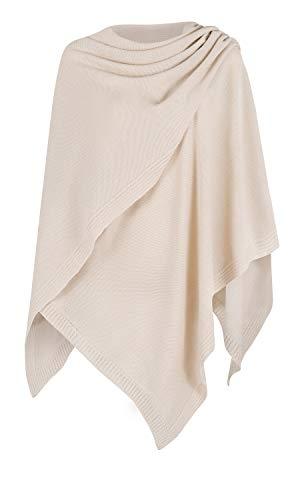 Mikos* Damen Poncho Strick Strickpullover Eleganter Pulli Long Mantel Herbst Winter Viele Farben Eine Größe (991) (Beige)