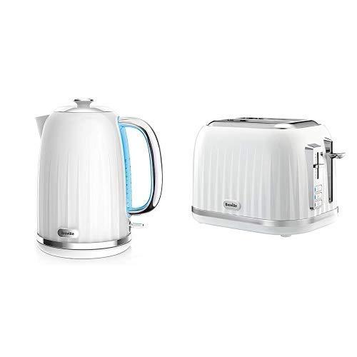 Impressionen Wasserkocher & Toaster Set mit 2 Scheiben Toaster & Wasserkocher, Weiß