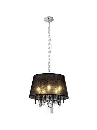 Trio Leuchten Krone in Chrom mit Stoffschirm Behang, schwarz 110400502