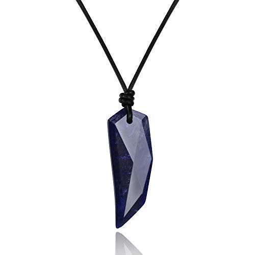 coai Geschenkideen Unisex Spitzer Anhänger aus Sodalith Wolfszahn Amulett Leder Halskette