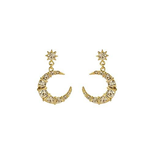 Pendientes de personalidad de luna de diamante de aguja de plata S925 pendientes de temperamento de diosa encantadores y elegantes retro pendientes de moda simples