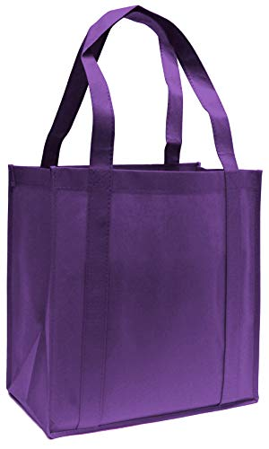 10 Pack Heavy Duty Grocery Tote Bag, Purple Color Large & Super Strong, Reusable Shopping Bags with Stand-up PL Bottom, Non-Woven Convention Tote Bags, Premium Quality (Purple, 10 Pack)