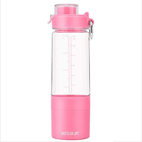 BOTTLED JOY Protein Shaker Bottle with 2-Layer Twist and Lock Storage Container - Tritan Lady Sports Protein Mix Fit Shaker Water Bottle 480ml 16oz 16 Ounce (Black)