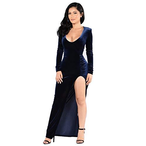 Creator2018 Damen Langarm Abendkleid Samt Maxikleid Tief V-Ausschnitt Gespaltene Abendkleider Elegant Cocktailkleid Partykleid, Blau M