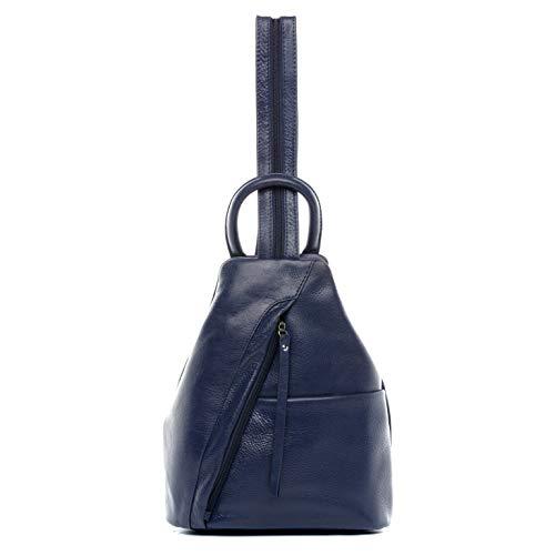BACCINI® Zaino vera pelle EMILIA piccolo borsa a spalla borsa a zainetto backpack donna cuoio blu