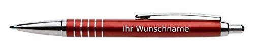 Kugelschreiber mit Gravur / aus Aluminium / mit 5 Zierringen / Farbe: rot