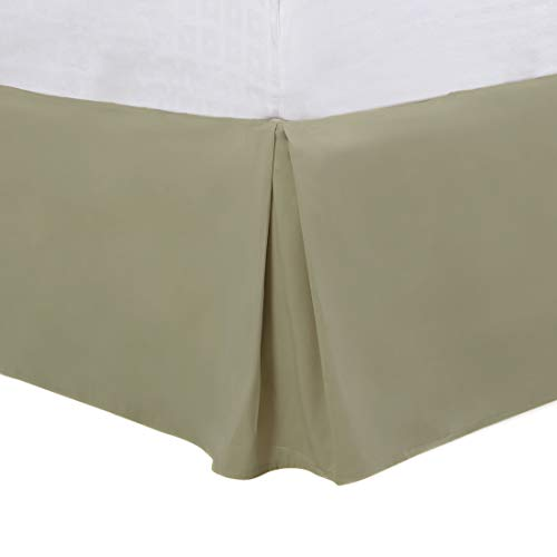 PiccoCasa Pleated Bed Skirt Classic Tailored Styling Dust Ruffled, Wrinkle and Fade Resistant, Brushed Solid Hotel Quality, 16 Inch Drop Full Khaki