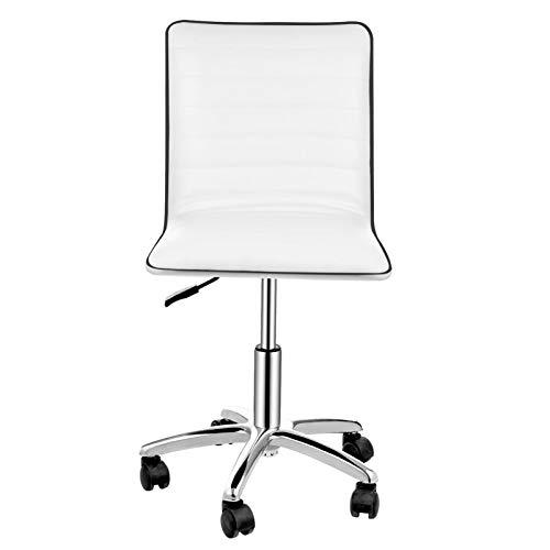 Reposabrazos de piel sintética con respaldo bajo, reposabrazos de piel sintética, silla de oficina ajustable para el hogar, escritorio o silla de trabajo