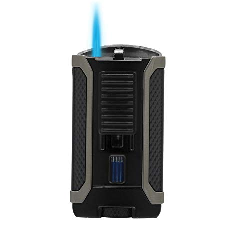 Colibri Apex Single Torch Lighters for Smoking. Single Action Ignition, Flame Adj. Wheel & Fuel Window, Refillable Butane Fuel Torch Lighter. Cigar Lighter - 6 Finishes, Gunmetal Trim & Pachmyr Grip.