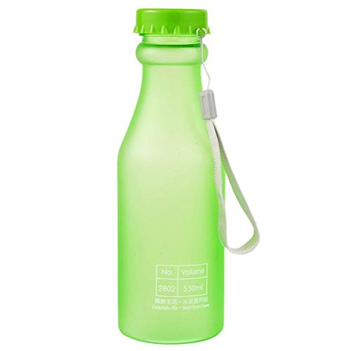 Haplws 1 Pcs Matte Givré d'eau Bouteille 550mL en Plastique Anti-Fuite Bouilloire Incassable pour Voyage Yoga Course Camping Scellé Tasse