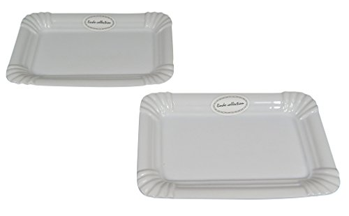 Porzellanteller Imbiss im 2er Set, origineller Wurstteller im Pappdesign aus Porzellan, 2 rechteckige Teller