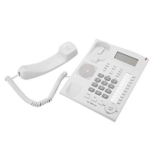 Teléfono de Escritorio con Cable, teléfono Fijo de Oficina con Soporte, teléfono Fijo con Cable para casa/Hotel/Oficina, Sistema Dual DTMF/FSK Compatible, visualización de Fecha y Semana en tiem