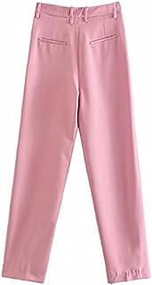 بناطيل نسائية من Clinlllinisnsck للنساء، سراويل نسائية وردية واسعة الساق مستقيمة سراويل نسائية عالية الخصر واسعة الساق سرا...
