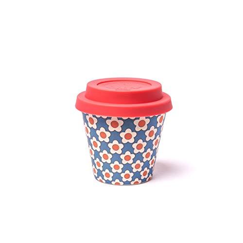 QUY CUP Taza de Café Espresso de Bambú - 90ml. Daisy Blue. Taza Reutilizable para Viaje. Exclusivo Diseño Italiano. Hecha de Fibra Natural. Sin BPA. Café para Llevar
