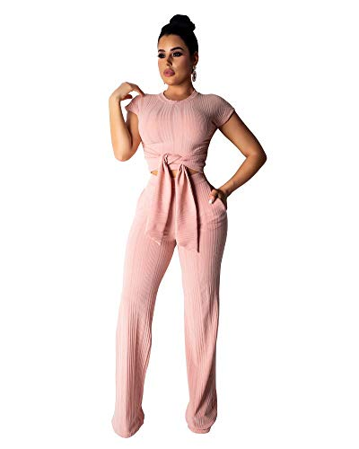 Womens Outfits Short Sleeve Tops and Flare Long Pants Jumpers Set Tracksuits 2XL Pink