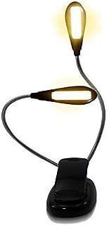 2020 Upgrade Version 14 LED, 2 Goosenecks Tubes, 2 Brightness, Eye-Care Book Light, Clip On Bed Reading Light, Music Stand...