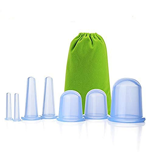 Facial Cupping Set Silicone Cupping Therapy Sets 7Pcs Anti-Cellulite Cup Vacuum Suction Massage Cups with Velvet Pouch for Muscle,Nerve,Joint Pain Relief and Cellulite Blaster Massage