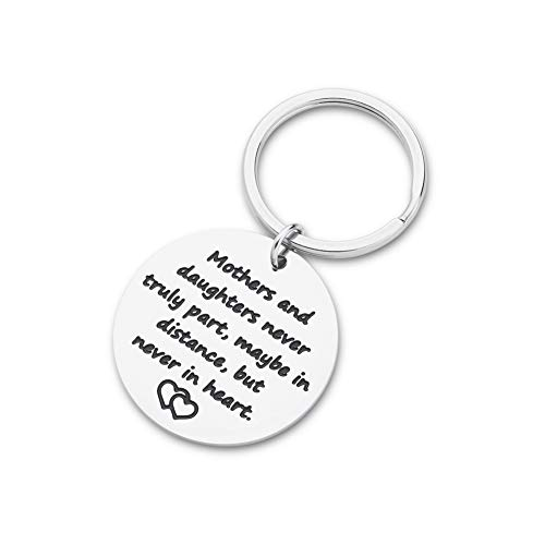 Mothers Day Gifts Keychain for Mom from Daughter Mothers and Daughters Never Truly Part Maybe in Distance But Never in Heart Long Distance Family Keychains for Women Her Birthday Christmas