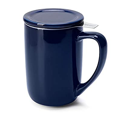 Sweese 203.103 Ceramic Tea Mug with Infuser and Lid, Single Cup Loose Tea Brewing System, Draw Your Own Design, 16 OZ, Navy