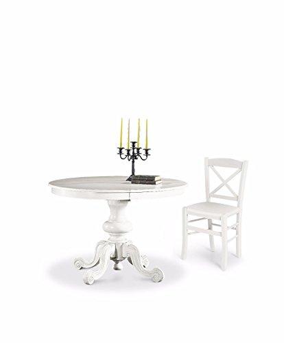 L Aquila Design Arredamenti Classico Tavolo da Pranzo Shabby Chic Bianco Rotondo allungabile Diametro 120 1320