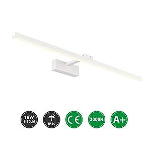 Klighten Lámpara LED de Espejo 18W 1170LM Lámpara de espejo Aplique 80cm 3000K Blanco cálido para Espejo Muebles de…