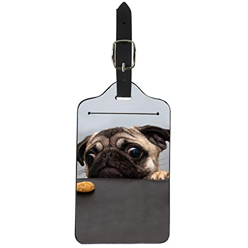 Nopersonality Cute Pet Pug Dog Design Luggage Tags with Pu Leather Strap, Suitcase Label for Travel