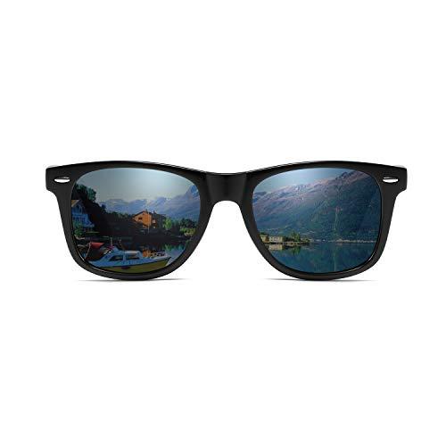 サングラス メンズ 偏光レンズ UV400 ハードケース付男性と女性用の偏光サングラス (黒)
