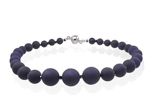Creative-Beads Polaris Perlen Kette 48cm 10-20mm Dicke Perlen Magnetverschluss Juwelierdraht dunkelblau Allergiker geeignet
