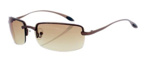 Rahmenlose Metall Sonnenbrille mit spiegelnden Gläsern braun