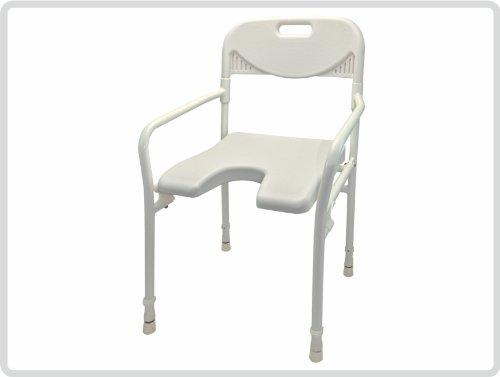Duschhocker Duschstuhl mit Arm- und Rückenlehne, faltbar, weiß