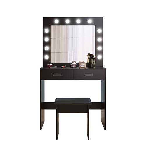 J Toeletta con luce LED, tavolo da trucco, in legno, con sgabello, idea regalo Nero
