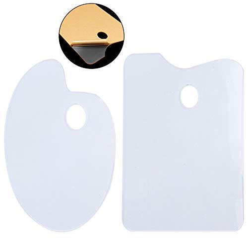 Paleta de pintura acrílica transparente,Paleta de pintura de 2 piezas, paleta de pintura fácil de limpiar, pintura al óleo antiadherente transparente para manualidades con papel protector (Square)
