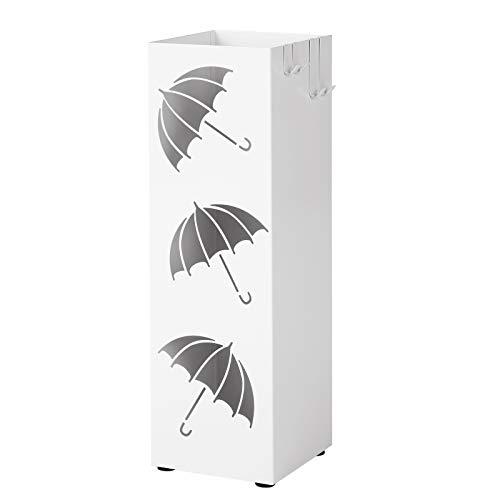 SONGMICS Regenschirmständer aus Metall, quadratischer Schirmständer, Wasserauffangschale herausnehmbar, mit Haken, 15,5 x 15,5 x 49 cm, weiß LUC26W
