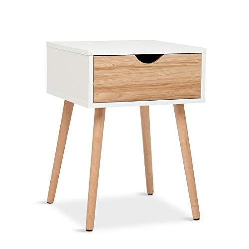 Meerveil Nachttisch, Beistelltisch mit Schublade, Skandinavischer Stil, Geeignet für Wohnzimmer, Schlafzimmer, 40 * 40 * 56 cm, Weiße Eiche