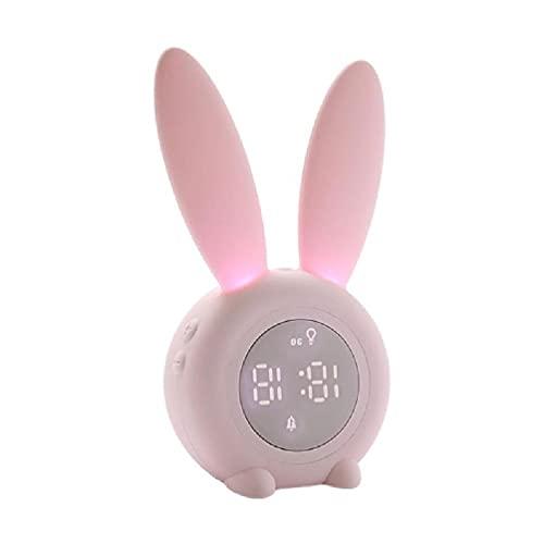 LAOLEE Conejito niños reloj despertador niños sueño reloj noche luz para niños USB noche luz