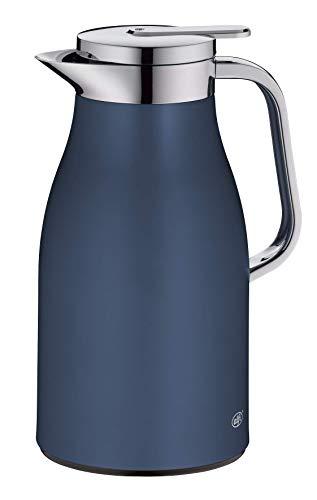 alfi Skyline, Thermoskanne Edelstahl blau 1l mit doppelwandigem alfiDur Vakuum-Hartglaseinsatz. Isolierkanne hält 12 Stunden heiß, ideal als Kaffeekanne oder als Teekanne, für zu Hause oder im Büro