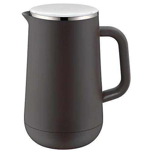 WMF Impulse Thermoskanne 1l, Isolierkanne für Tee oder Kaffee, Druckverschluss, hält Getränke 24h kalt & warm, taupe