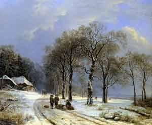 GFM Painting Handgemalte Ölgemälde Reproduktion von Winter landscape 1838,Ölgemälde von Barend Cornelis Koekkoek - 72 By 96 inches
