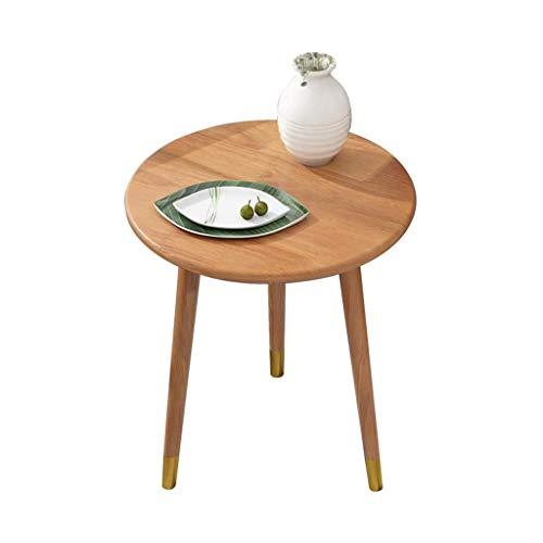 FSAQ - Mesa auxiliar de madera maciza para salón, sofá, mesa de café, mesa auxiliar para balcón, mesa redonda para bocadillos para dormitorio, mesita de noche (color: madera, tamaño: 48 x 50 cm)