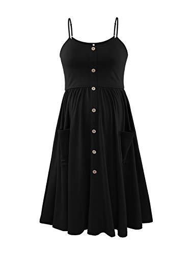 Liu & Qu Womens Maternity Dress Spaghetti Strap Button Swing Pregnancy Dresses with Pockets