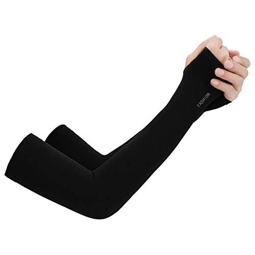 ZHTY Sonnencreme Handschuh 2 stücke Sport Armhülse UV-Schutz Sonnencreme Anti-Skid EIS Seidenhülse Sonnencreme Sommer Unisex Handschuhe Reitenhandschuhe Song (Color : BK, Size : A)
