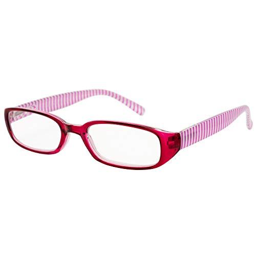 エール 老眼鏡 2.0 度数 レディース プラスチックフレーム バネ蝶番 パープル ストライプ柄 AP118S