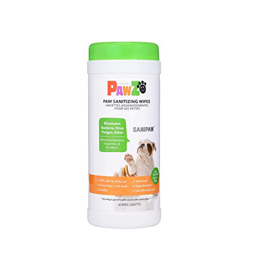 Protex PawZ SaniPaw Dog Paw Wipes (60 Wipes) | Safe Antibacterial Dog Paw Wipes | Deodorizing Dog Wipes | Dog Paw Cleaner and All Over Wipes | Pet Paw Cleaner & Grooming Wipes