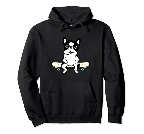 Skateboarding French Bulldog Skateboard Frenchie Dog Skater Pullover Hoodie